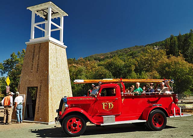 Bell tower and old firetruck at Pioneer Day, 10/10/15