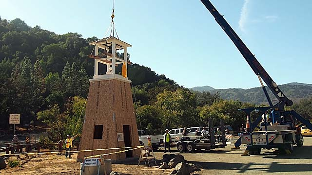 Bell house being placed on the tower 10/7/15